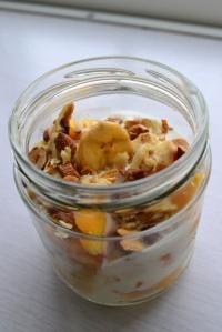 Peach, almond and banana parfait